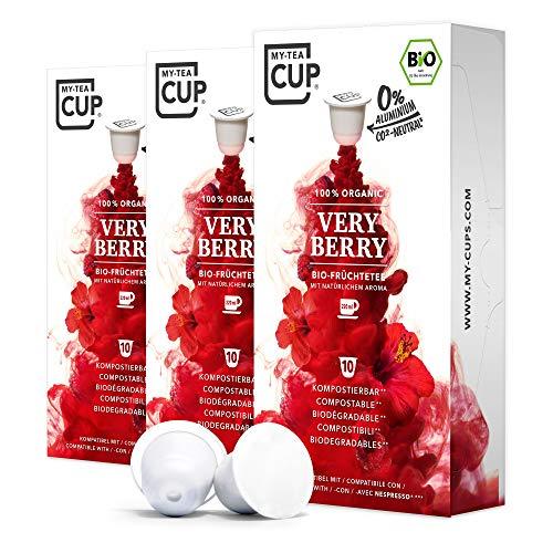 My Tea Cup - TEEKAPSELN VERY BERRY 3 x 10 KAPSELN I BIO-FRÜCHTETEE I 30 Kapseln für Nespresso®³-Kapselmaschinen I 100{286a4b394f52eaf86d76c0ebb59824ea498d9e29a520e5587ba520f4dd188dae} industriell kompostierbare & nachhaltige Teekapseln – 0{286a4b394f52eaf86d76c0ebb59824ea498d9e29a520e5587ba520f4dd188dae} Aluminium