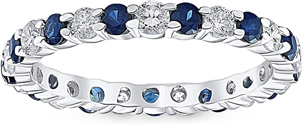 1 cttw Blue Sapphire Diamond Many popular brands Wedding White 5 ☆ very popular Ring Eternity Gol 10k