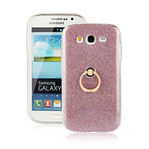 pinlu Funda Para Samsung Galaxy Grand Neo Plus/Grand Neo (i9060) Anti-Arañazos Función Flash Brillante Suave TPU Silicona Case Ultra Delgada Hebilla del Anillo Soporte Diseño Rosa