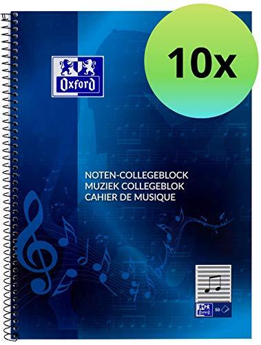 Oxford 100050345 muziekblok school 10-pack A4 50 vellen geperforeerd blauw - slim muziek leren