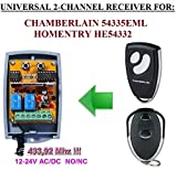 HOMENTRY Kompatibel Modul. 2-canales 433,92MHz Universal-Funkempfänger für Homentry HE54332Sender. 12–24V AC/DC, NO/NC 433.92Mhz rolling/Fixed code