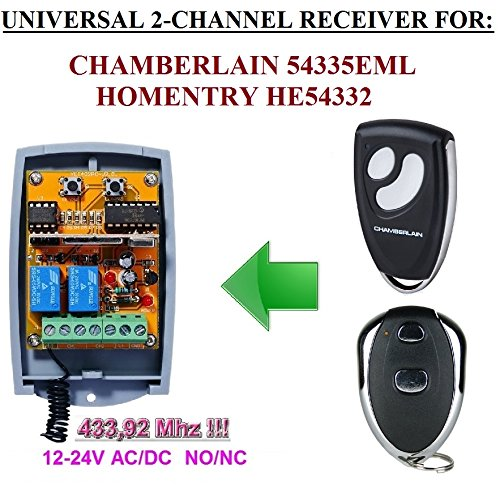 HOMENTRY Kompatibel Modul. 2-canales 433,92 MHz Universal-Funkempfänger für Homentry HE54332 Sender. 12 – 24 V AC/DC, NO/NC 433.92 Mhz rolling/Fixed code