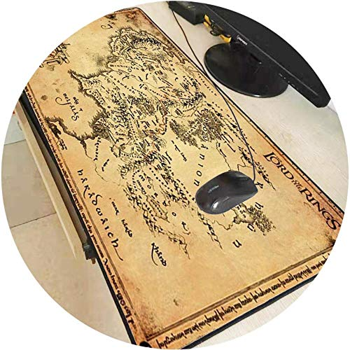Lord of The Rings map Extended Gaming Mouse Pad Mat Stitched Edges Waterproof Wide Long Rubber Mousepad Keyboad Mat,400X700X2MM