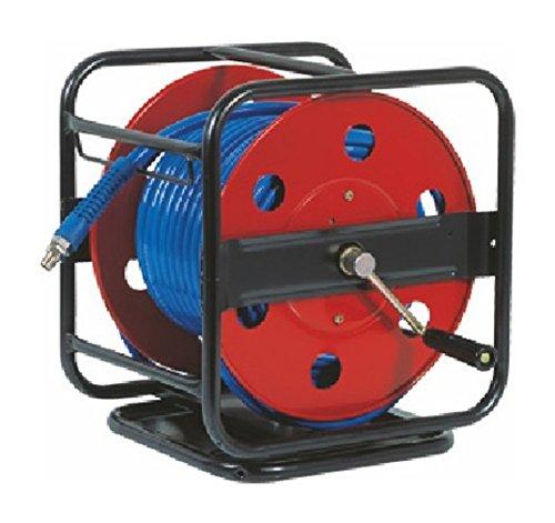 Enrollador Metálico y Manual con Manguera Aire Comprimido 40 metros - 15 Bares - Profesional con soporte giratorio