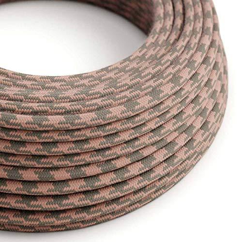 2x0.75 creative cables Fil /Électrique Rond Gaine De Lin De Couleur Naturel Anthracite RN03-1 m/ètre