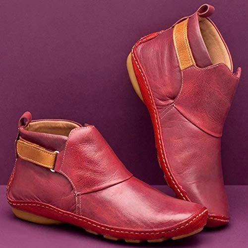 Diseño de Moda Punta Estrecha Casual Botas de Cuero para Mujer HS Color sólido Tacón Grueso Zapatos cómodos y cálidos para Mujeres - Rojo - 36