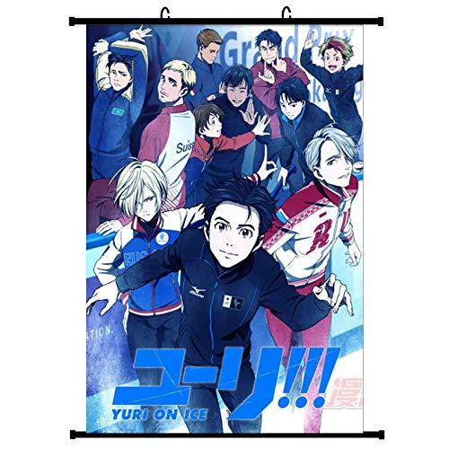 Otaku-Base.de® Yuri On Ice Anime Wallscroll Poster (Vers. A), 60x90 cm Canvas Kakemono Wall Scroll Merch