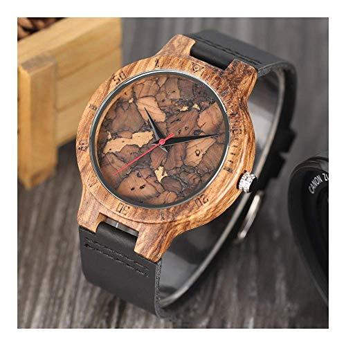 Leyue Reloj de Madera, Reloj de Cuarzo de Madera de Cebra Personalizada, Negocio Casual romántico, luz, Saludable, Natural y ecológico Reloj de Mujeres (Color: Negro) (Color : Black)