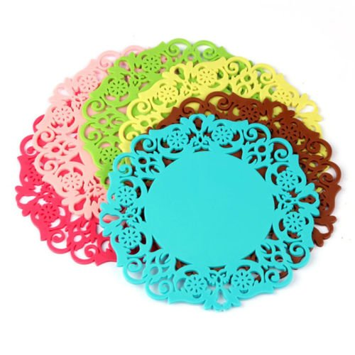 2pcs Practical Silicone Lace Flower Cup Coaster Mat Nonslip Cushion Placemat New