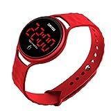 Hombres Mujeres Digital Deporte Running Reloj Simple al Aire Libre Casual Impermeable electrónico Relojes con Pantalla táctil LED Reloj de Pulsera Calendario Fecha–Rojo