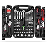 MVPOWER 95 Piece Home Mechanics Repair Tool Kit, General Household Tool Set with Durable and Long Lasting Tools bike tool kit Mixed Tool Set with Plastic Toolbox Perfect for DIY, Home Maintenance
