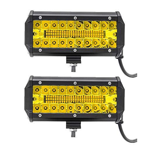 2 Stück 7 Zoll 138 W Arbeitsscheinwerfer 6003 K Flut- oder Spot-Lampe Marine LED Beleuchtung für Jeeps Geländewagen SUV Boote Auto Zubehör Hochfeste LED-Lampen, starker Widerstand - gelb