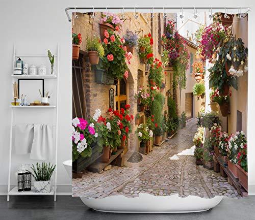 Cortina de chuveiro LB europeia com cena natural, impressão 3D, cena da Grécia Mediterrânea, imagem de flores antigas, tecido de poliéster à prova d'água, decoração de banheiro 182 x 182 cm