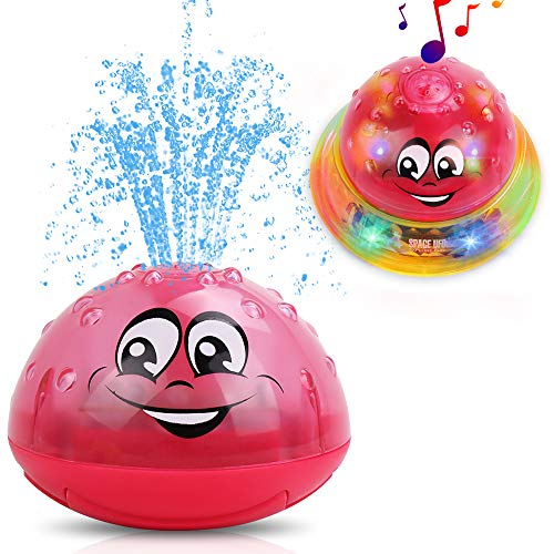 GearRoot Bath Toys Bathtub Toys for Toddlers Kids Spray Water Fountain Pool Toys UFO Light UP Toy Car with Musical Sounds (Red Ball Yellow Base)