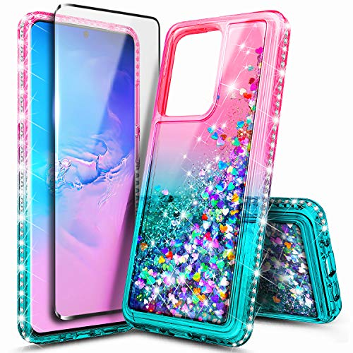 E-Began Case for Samsung Galaxy S20+ Plus /S20 Plus 5G (2020) with Screen Protector, Glitter Liquid Gradient Quicksand w/Sparkling Bling Diamond, Shockproof Durable Girls Cute Case (Pink/Aqua)