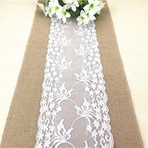 CADXDZS Camino de mesa vintage de yute natural de lino para bodas, caminos de mesa de Navidad, comedor o restaurante