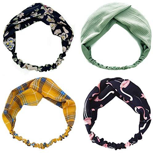 Diademas para mujer, diademas para el pelo, vendas elásticas estampadas, accesorios para el pelo trenzados (4 piezas)