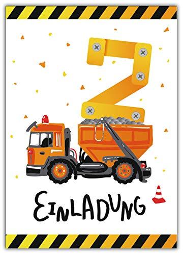 12 Einladungskarten zum 2. zweiten Kindergeburtstag Jungen Baustelle Bagger