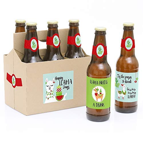Big Dot of Happiness Fa La Llama - Christmas and Holiday Party Decorations for Women and Men - 6 Beer Bottle Label Stickers and 1 Carrier
