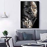 ganlanshu Pintura de Arte Mural sobre Lienzo de Papel Plateado Figura Abstracta Pintura Retrato póster decoración de la Sala de Estar,Pintura sin marco-50X75cm
