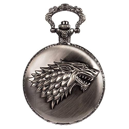 GAOFQ Reloj de Bolsillo Steampunk Wolf Lobos Patrón Cadena para Hombre Cuarzo Negro Lobo huargo House Stark Juego de Tronos