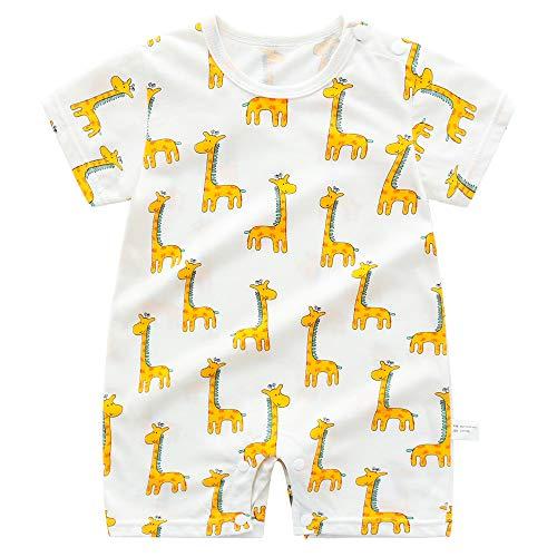 Pijama de bebé para niños y niñas, 100% algodón, linda excavadora, jirafa, pijama, pijama para niños y niñas, enterizo unisex para recién nacidos, 3 6, 9, 12 24 meses Amarillo jirafa 2-3 Años
