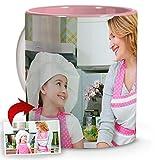 LolaPix Tazas Desayuno Personalizadas. Regalos Personalizados con Foto. Taza Personalizada de cerámica. Taza con Interior de Color Rosa.