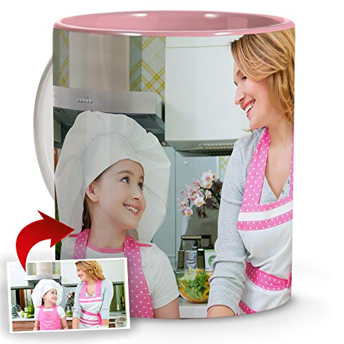 LolaPix Taza Desayuno Personalizada con Foto. Regalos Personalizados con Foto. Taza Personalizada de Cerámica. Taza con Color Interior Asa Rosa
