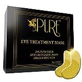 LA PURE 24K Gold Eye Treatment Masks - Under Eye Patches, Dark Circles Under Eye Treatment, Under Eye Bags Treatment, Eye Mask for Puffy Eyes, Anti-Wrinkle, Undereye Dark Circles, Gel Pads 15 Pairs