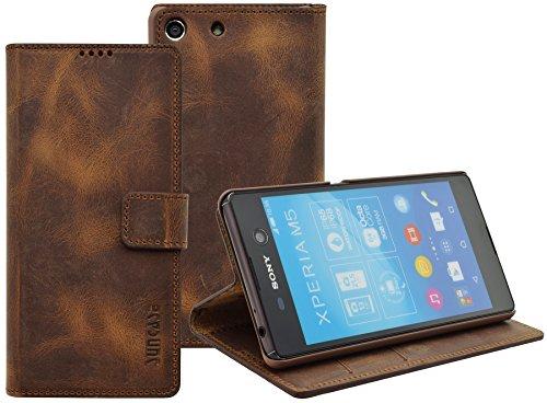 Sony Xperia M5 | Suncase Book-Style (Slim-Fit) Ledertasche Leder Tasche Handytasche Schutzhülle Hülle Hülle (mit Standfunktion & Kartenfach) antik coffee