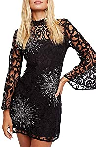 Free People Womens Bell Sleeve Sequined Mini Dress