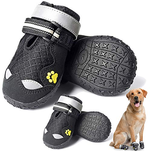HOOLAVA Dog Boots, Waterproof Dog Shoes with Adjustable and Reflective, Anti-Slip Sole Breathable Booties 4PCS for Medium and Large Dogs, Size 4: 2.3'(W)