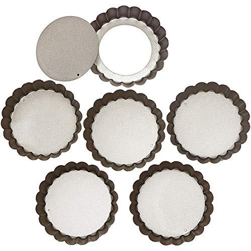 6 Pack Non-Stick Mini Tart Pan, with Loose Bottom, Mini Tart Pie Quiche Pan Molds, Round Fluted Tart...