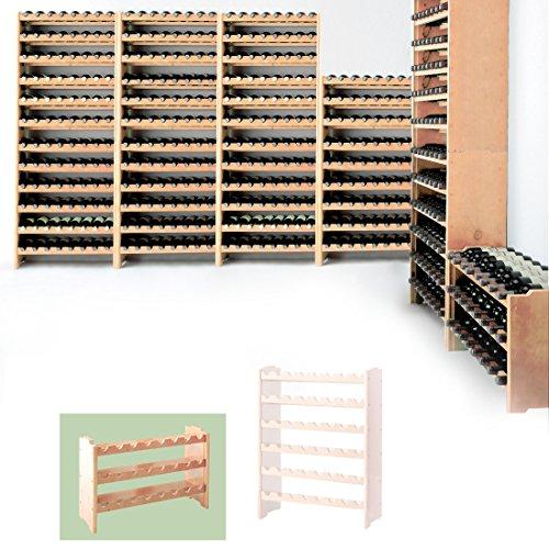 Weinregal/Flaschenregal System MEDOC, Modul 1 für 24 Fl, Holz Kiefer natur, stapelbar/erweiterbar - H 44,5 x B 68 x T 27 cm