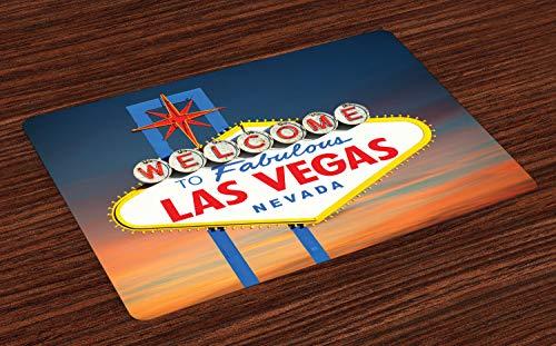 ABAKUHAUS Verenigde Staten van Amerika Placemat Set van 4, Fabulous Las Vegas Nevada, Wasbare Stoffen Placemat voor Eettafel, Veelkleurig