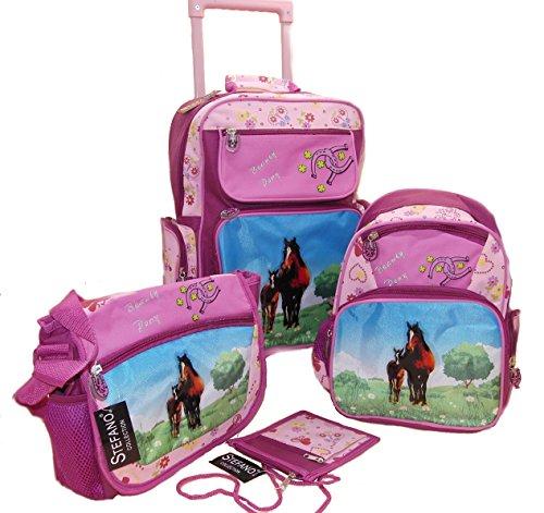 STEFANO Kinder Reisegepäck Trolley Kitatasche Rucksack Brustbeutel 4 TLG. Set Pony/Pferd pink rosa -präsentiert von RabamtaGO®- (4 TLG. Set)