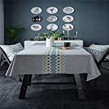 HZHJIY Linen Embroidered Waterproof Tablecloth Tablecloth Square Table Cloth C 53X86 Inch
