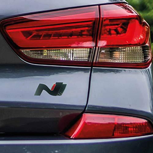 P048 | Heck Emblem Cover N-Performance Kofferraumdeckel 2er-Set Aufkleber | 3M 2080 Car Wrapping Folie | Car Styling | Dekorset (V4 Schwarz Matt/Carbon/Rot)