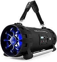 auna Soundstorm - Minicadena , Estéreo portátil , Bluetooth/NFC , USB Apto MP3 , Sintonizador FM , Entrada auxilar minijack 3,5mm , Pantalla LCD , Efectos de iluminación por LED , Negro-Azul