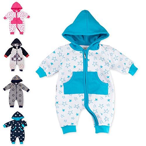 Baby Sweets Baby Overall Jumpsuit mit Kapuze für Jungen in Türkis Weiß im Stern-Motiv/Babystrampler als Overall für Baby und Kleinkind für Outdoor und Indoor in Größe: 1 Monat (56)