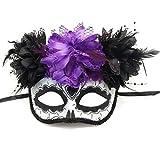 Women's Masquerade Mask Mexican Day of The Dead Sugar Skull Costume Halloween Mask Dia de Los Muertos Mask (Black 1)