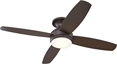 """52"""" Casa Elite Modern Hugger Low Profile Ceiling Fan with Light LED Dimmable Remote Flush Mount Oil Rubbed Bronze for Living Room Bedroom - Casa Vieja"""