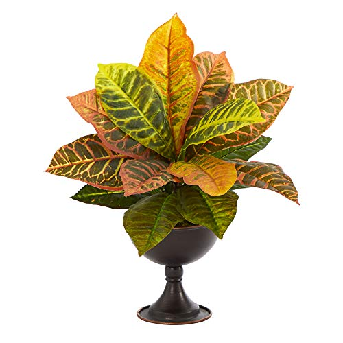 Garden Croton Kunstpflanze im Kelch aus Metall, 35,6 cm