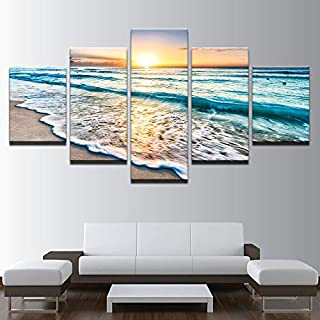 PAND PAND Canvas Living Room HD Home Decoration Modern 5 Panel Sunset Seascape Printed Pictures Painting Wall Art Poster F...