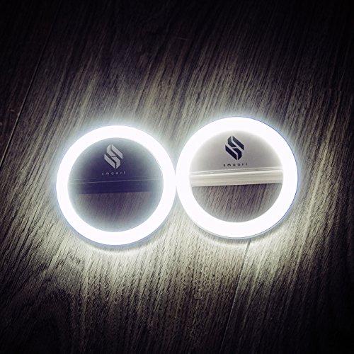 SMAART® Selfie Ring-Licht für alle Handys | wiederaufladbar - mit Akku & USB Ladekabel | 36 LED Light Lampen für r&en Licht-Kreis-Effekt | 3 Helligkeitsstufen