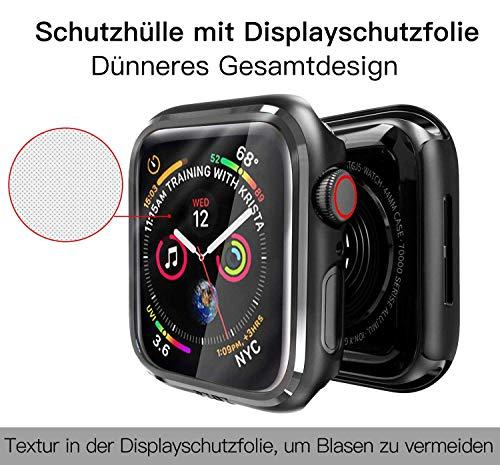 PZOZ Hülle Kompatibel mit Apple Watch Series 6/SE/5/4 44mm mit PET Displayschutz, iWatch Sehr stark PC Schutzhülle, All-Around Schutz Case für Apple Watch Series 6/SE/5/4 44mm(Schwarz)