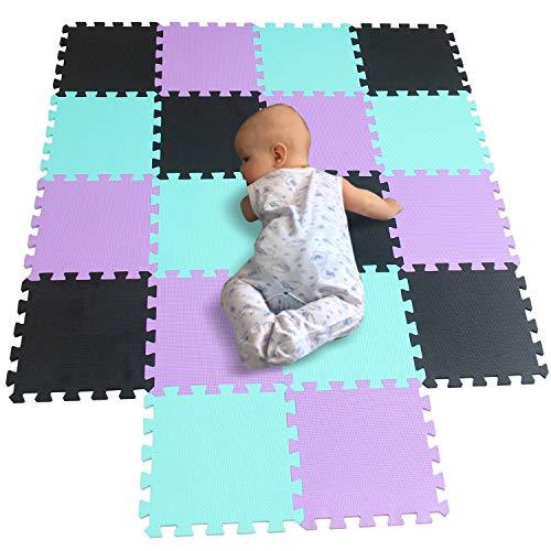 BUCHAQIAN Interlocking Foam Puzzle für Kinder, Garagen, Waschräume, Schlafzimmer, Baumschulen, Spielbereiche, Spielzimmer oder Gärten Schwarz Grün Violett 104108111