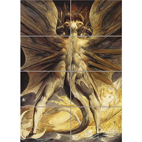 Doppelganger33 LTD William Blake Red Dragon Woman Clothed Sun 1805 Old Painting Wand Kunst Multi Panel Poster drucken 33x47 inches