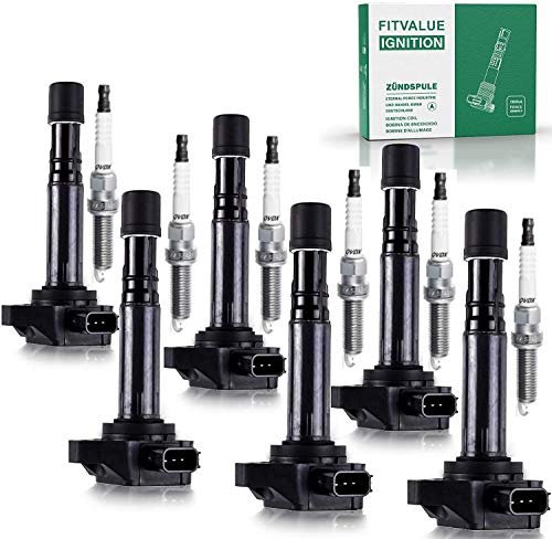High Energy Ignition Coil 30520-P8E-A00 and Spark Plug Pack of 6, Double Iridium Spark Plug ZFR611, ZFR6FGP Compatible With Camry, RAV4, Highlander, Solara, Tc, xB, HS250h, 2.0L and 2.4L Models.