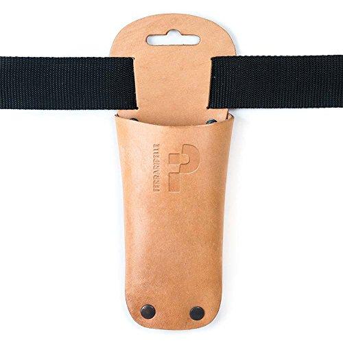 Ferrari Multi-usage 3 – Étui porte-ciseaux d'élagage en cuir véritable, couleur naturelle, rivets brunies, ceinture incluse